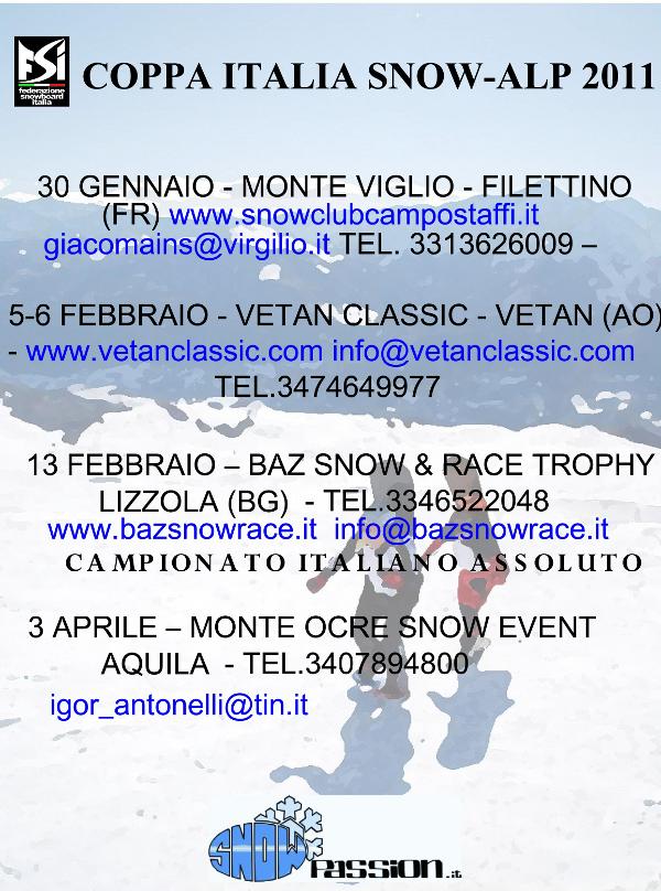A edição 2011 do Campionato Italiano di Snowboard Backcountry está prestes a começar. Promovido e supervisionado pela Federação Italiana Snowboard (FSI), também este ano promete ser um belo tour realizado por uns dos mais clássicos...