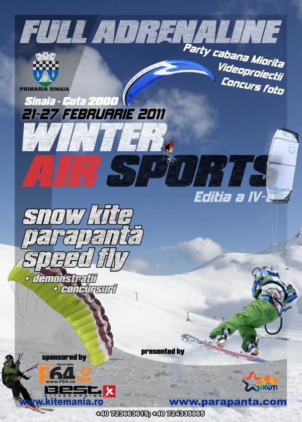 Quarta edição para o Winter Air Sports, evento que reúne em Sinaia, na Roménia, os addicted daqueles esportes radicais que envolvem a neve com o ar, como snowkite e speedride. Na real o evento acontecerá...