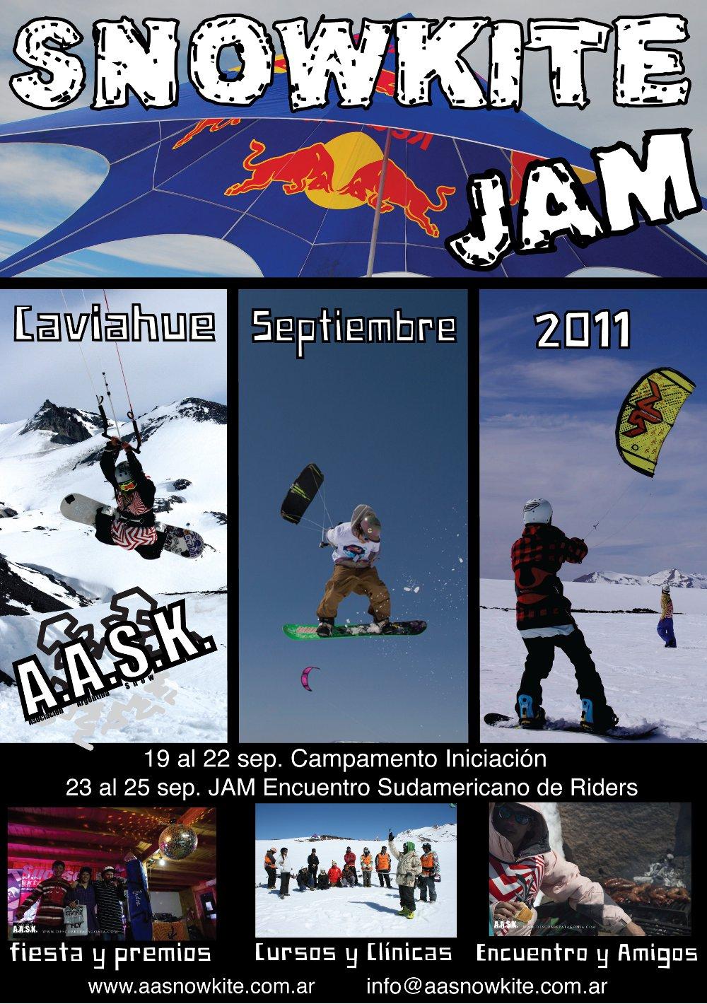 UPDATE (31-07-2011) O Snowkite Camp + Jam de Caviahue (ARG), organizado pela AASK, já virou um clássico sul-americano para todos os que gostam de kitear na neve. Primeiro e único evento deste tipo na América...