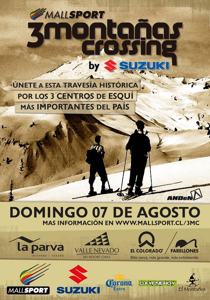 UPDATE (04 ago. 2011) Este domingo, 7 de agosto, voltará a competição mais desafiante dos Andes chilenos: o 3 Montaña Crossing. É uma prova de esqui que consiste em uma travessia cronometrada entre os três...