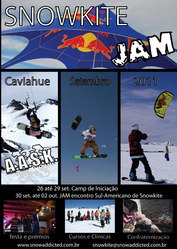 A partir de hoje, dia 01 de agosto 2011, estão abertas as inscrições para participar da terceira edição do único snowkite festival da América Latina: o Snowkite Jam organizado pela Associação Argentina de SnowKite (AASK)....
